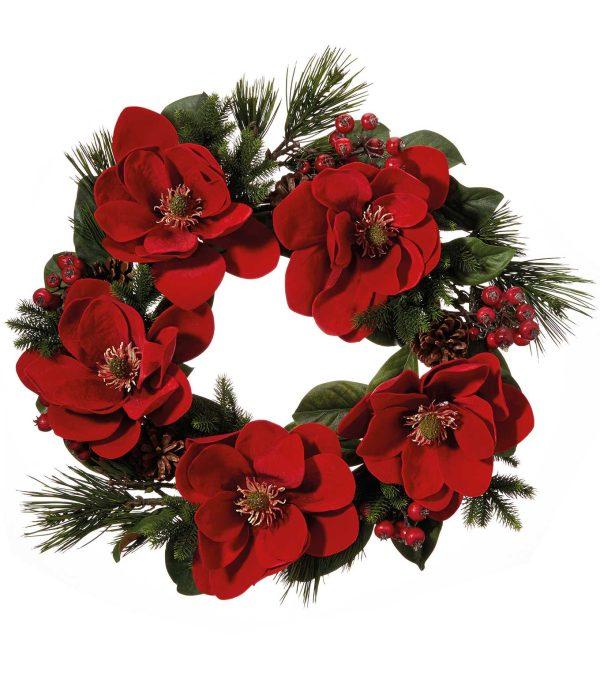 Red Magnolia Wreath - 60cm - Red