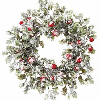Snowy Holly Wreath - 40cm Diameter - Green