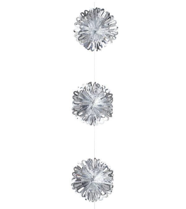Foil ball garland Silver 150cm - 150cm long x 16cm wide