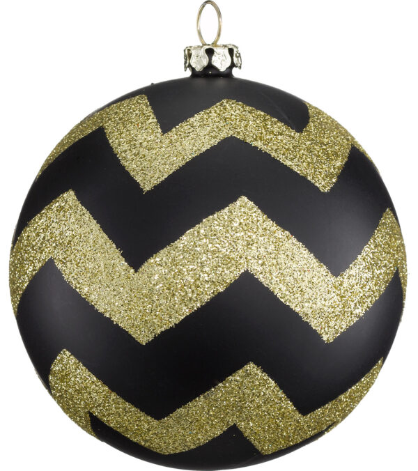 Gold and Black Glitter Baubles