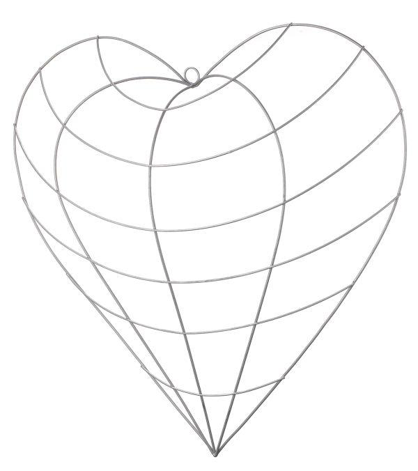 Wire Heart Frame - 50cm Wide - Silver - Per 1