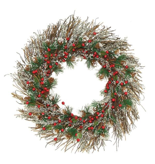 """Frosted Twig and Berry Wreath 22"""" (0.56m)"""
