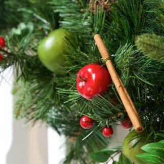 Luxury Christmas Garland with Rustic Apples, Cinnamon and Wicker Balls