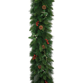 Christmas Garland with Mistletoe, Red Berries and Pine Cones