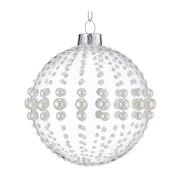 pearl beaded glass baubles