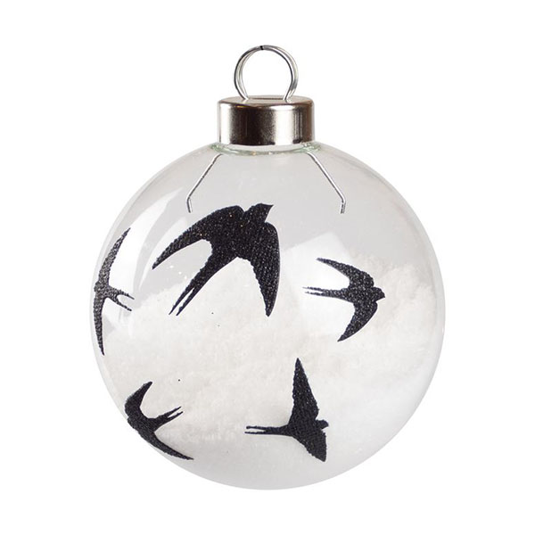 black swallow silhouette bauble