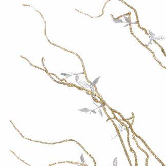 gold glittered branches closeup