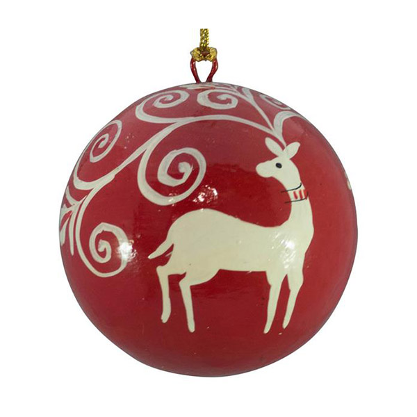 red and white deer bauble