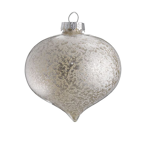 stippled silver glass onion bauble
