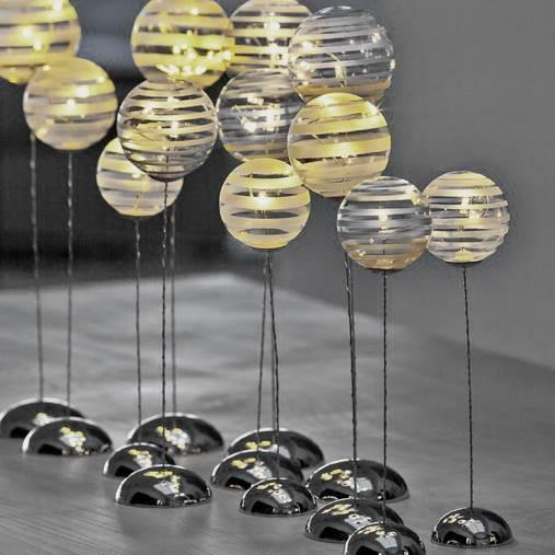 Striped trio of sphere LED lights