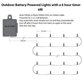 Outdoor Waterproof Battery Operated Lights with 6 hour Timer