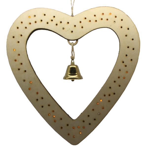wooden heart light decoration
