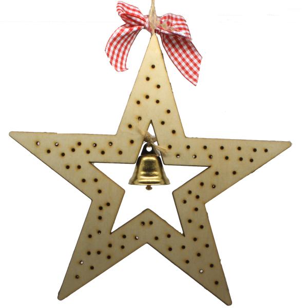 Wooden star LED light
