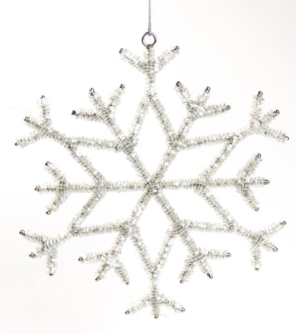 Silver Beaded Snowflake - 20cm - Silver - Sold Individually