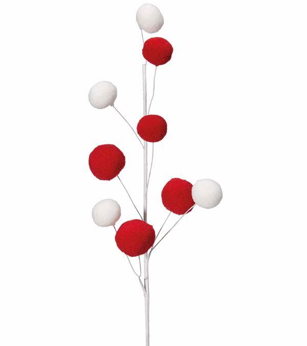 Pom Pom Spray - 60cm - Red and White - Pack of 6