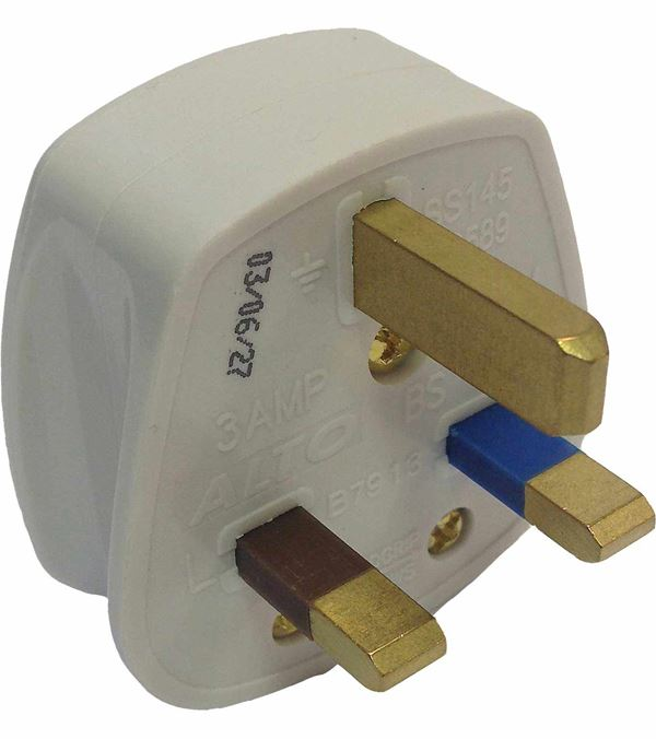3Amp Plugs - 3 Amp - White - Sold Individually