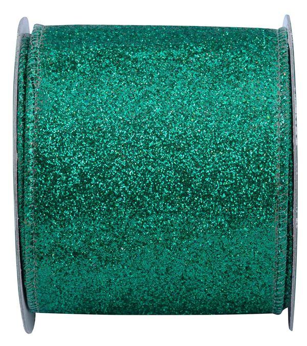 Glitter Ribbon Green 10m x 63mm - 63mm x 10m - Green - Single Roll