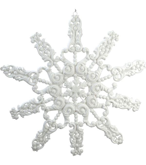 Giant Flocked Glitter Snowflake - Silver - 99cm Diameter - White - Sold Individually