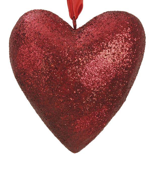 Glittered Heart - 25cm Wide - Red - Per 1