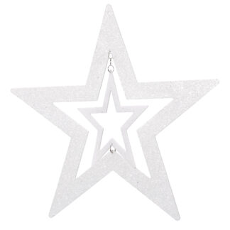 Star Glittered with Cut Out White 28cm
