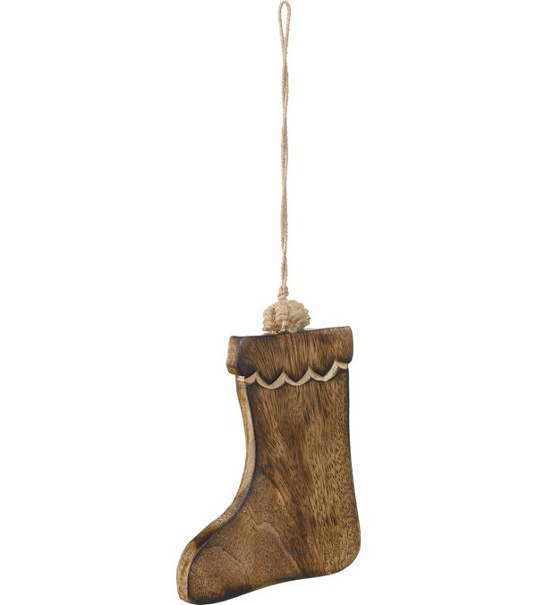 Wooden Stocking - 10cm High x 8cm Wide - Pack of 3 - Natural