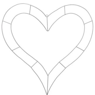 Wire Heart Outline Frame - 80cm Wide - Silver - Per 1