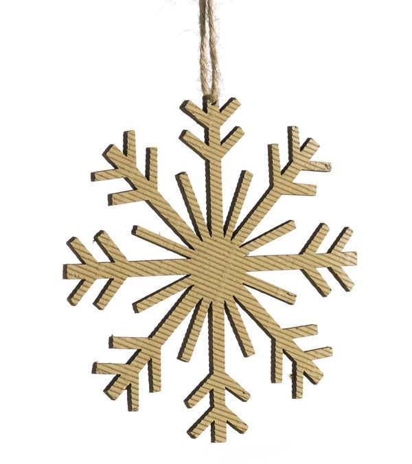 Corrugated Snowflake - 8 Point - 125mm Wide - Per 6 - Natural