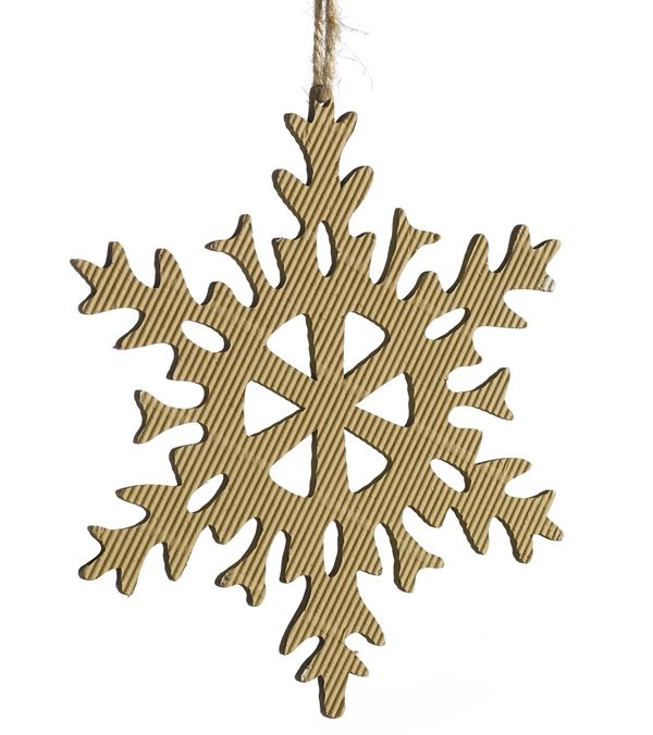 Corrugated Snowflake - 6 Point - 125mm Wide - Per 6 - Natural