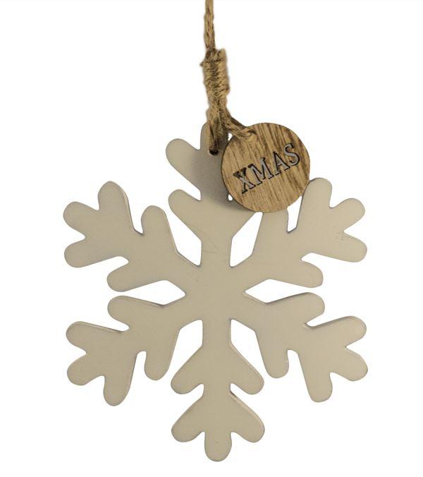 Wooden Snowflake Hanger - 11cm x 13cm - White (16265) - Pack of 3