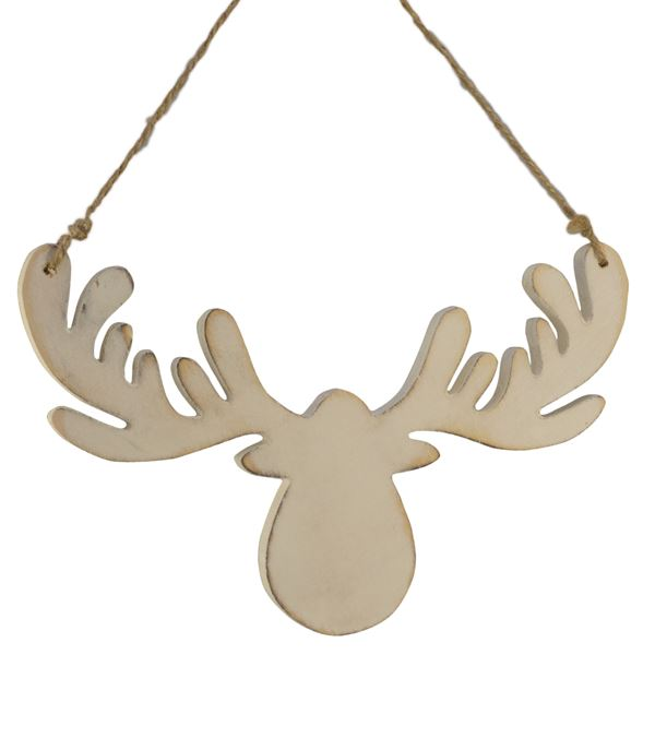 Wooden Moose Head Silhouette - 18.5cm x 11.5cm - White (16268) - Pack of 3