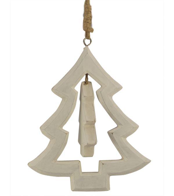 Wooden Christmas Tree Hanger - 14cm x 12cm - White (16274) - Pack of 2