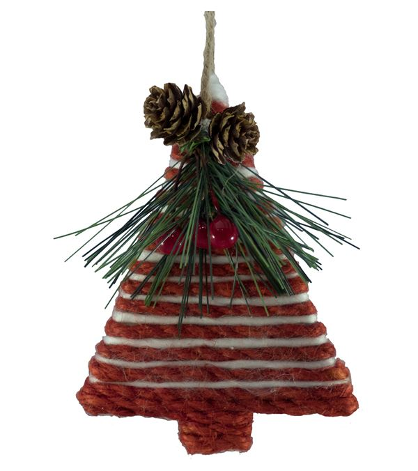 Yarn Corded Tree - 10.5cm Tall x 8cm Wide - Per 2 - Red and White (16313)