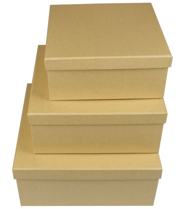 Square Kraft Boxes - Set of 3 - Sizes As Listed - Natural (16318NT)
