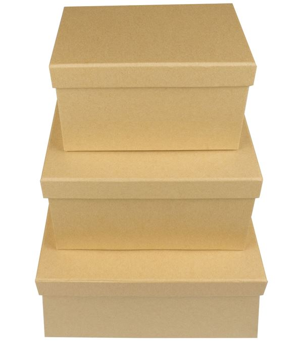 Rectangular Kraft Boxes - Set of 3 - Sizes As Listed - Natural