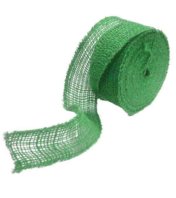 Jute Ribbon Green 7.5cm x 20m - 75mm Wide on 20m Rolls - Green - Single Roll