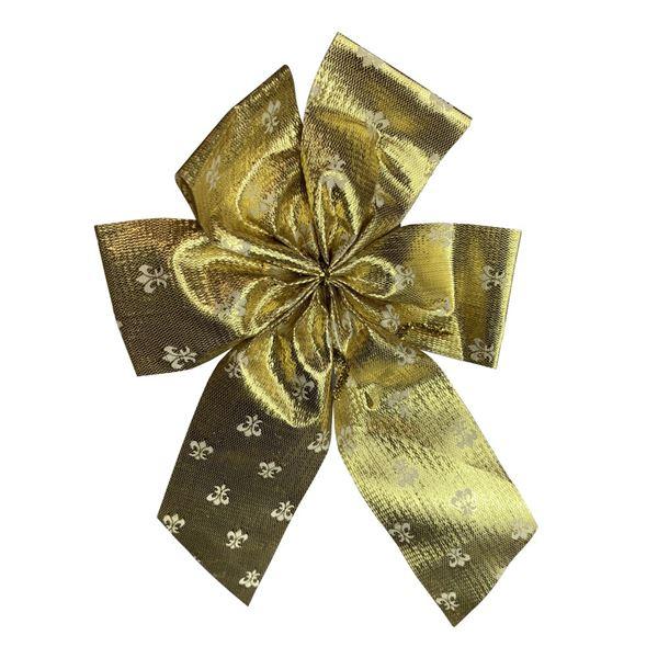Gold Fleur-De-Lis Pattern Bow - 14cm x 22cm - Pack of 12
