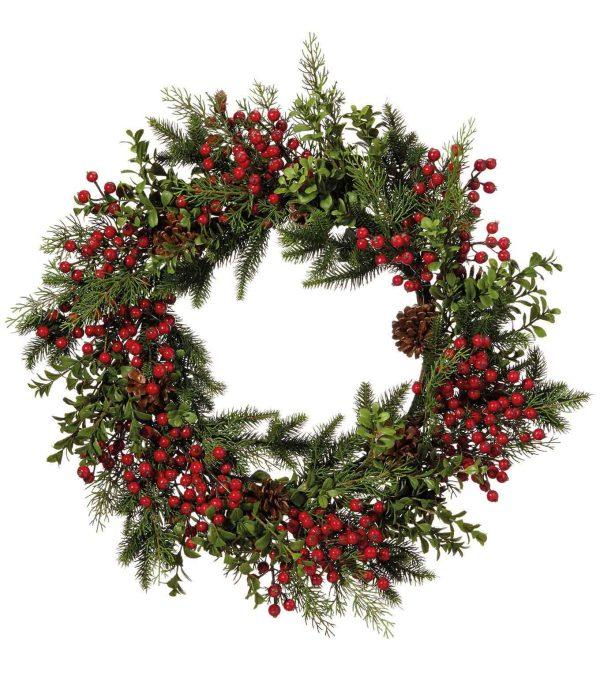 Berry & Pine Wreath - 55cm - Red