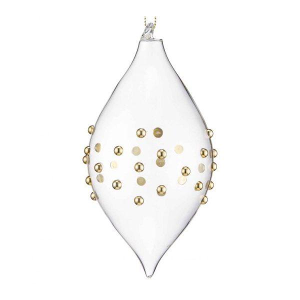 gold beaded glass drop