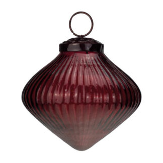 red ribbed glass onion bauble
