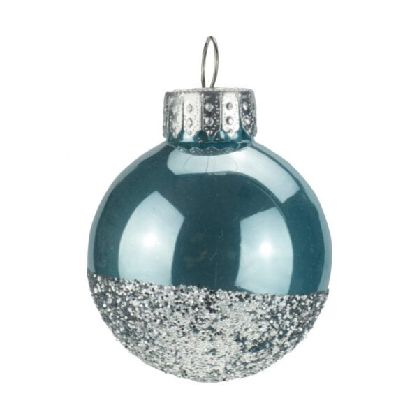 Blue Silver Glitter Bauble