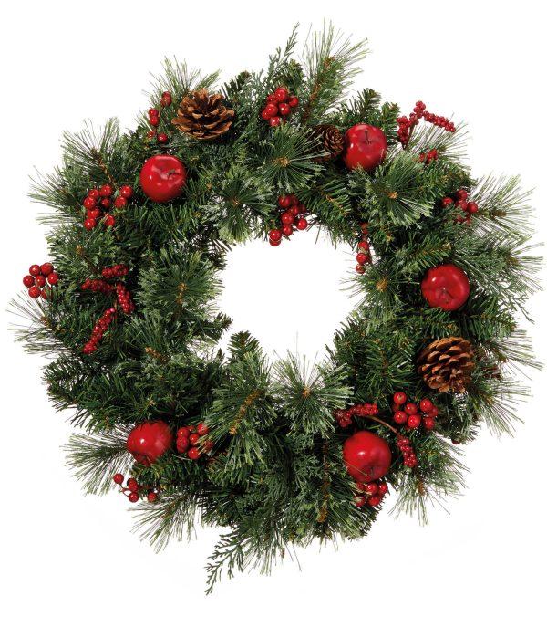 Berry, Apple & Pine Cone Wreath - 50cm diameter - Green