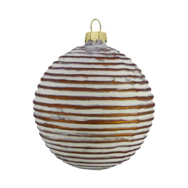 copper glass ribbed bauble