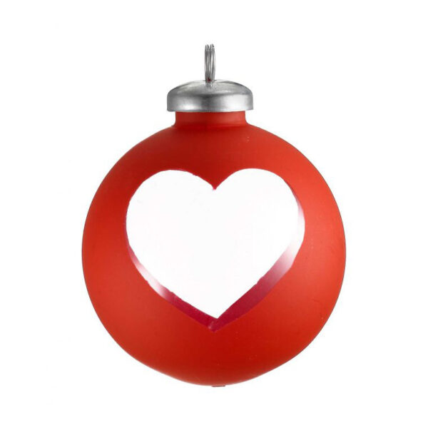 red cut out heart wrap bauble