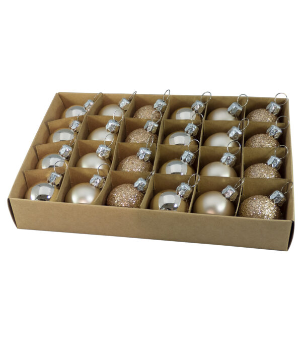 Boxes of 24 Mixed Finish Baubles - 30mm