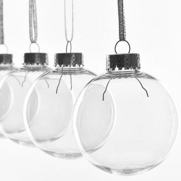 row of clear baubles