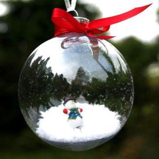 snowman inside clear bauble