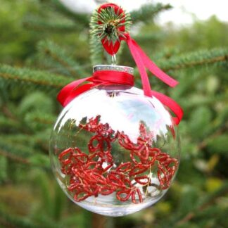 clear bauble with ribbon and internal decoration