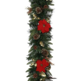 Luxury Christmas Red Poinsettia Garland