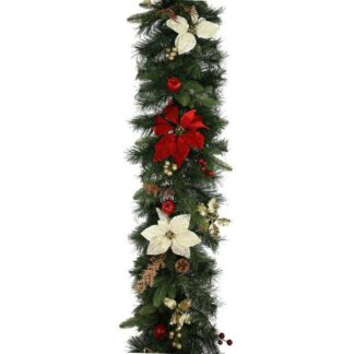 Luxury Christmas Garlands in Red and Gold