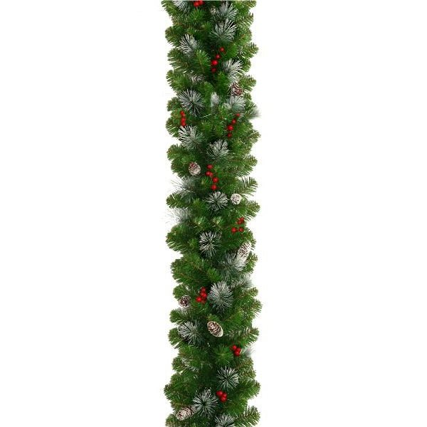 Frosted Christmas Garland with Pine Cones and Berries